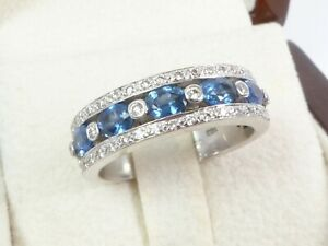 SOLID 18K White Gold Oval Blue Sapphire Natural Diamond Wedding Band Ring 7.8g