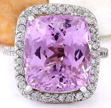 14.70CTW NATURAL KUNZITE AND DIAMOND RING IN 14K WHITE GOLD
