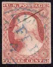 US 11A 3c Red orange old classic used 1852 blue date cancel attractive FV