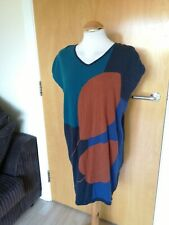 Ladies THOUGHT Dress Size 10 Jumper Knit Teal Grey Smart Casual Day