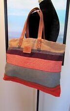 WILL Leather Goods Multicolor Woven Fabric Leather Handled Tote Bag