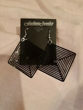Black Plastic Square Dangle Earrings.  New