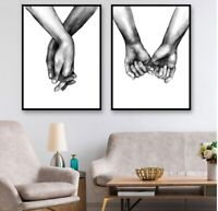 Modern Holding Hands Love Wall Art Print For Home Living Room Bedroom Decoration