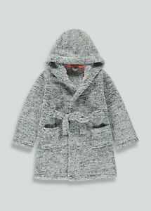 Boys Grey Marl Fleece Dressing Gown (9mths-13yrs)  Robe Nightwear