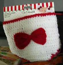 DIAPER COVER PICTURE PROP SIZE 0 - 6 MONTHS SO DORABLE WHITE RED BOW BABY