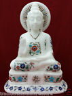 "12"" Marble Gautam Buddha Figure Inlay statue Decor Gifts Reglious Handcarved Art"