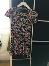 Miss Selfridge Size 8 Petite Black Floral Short Sleeve Mini Dress (F5)