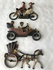 Vintage 1975 Bicycle, Car and Horse and Buggy Wall Decor Usa Home Interior