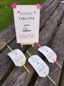 Personalised Wedding Sign Sparkler / Glow stick tags let love glow sparkle shine