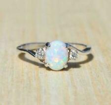 Vintage 2.3Ct Fire Opal Silver plated Gemstone Engagement Women Wedding Ring