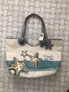COACH Starfish Canvas Beach Starfish Tote Shoulder Bag Purse F19212