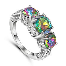 Rainbow Sapphire Claw Ring white Rhodium Plated Wedding Rings Band Size 8 Gift