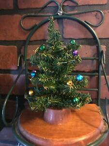 Vintage Christmas tree in Green Decorated on plastic base 7 inches tall
