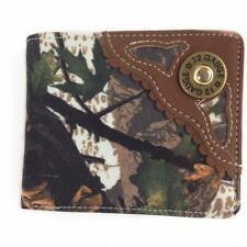 Bullet 12 Gauge Metal Badge Mens Leather Wallet Western Bifold Camouflage Brown