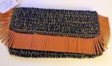 Shiraleah Chicago BARBADOS Clutch Purse / Bag    Black w/ Tan Fringed Trim   NWT