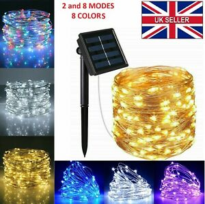 LED Solar String Lights Waterproof Copper Wire Fairy Christmas Garden Outdoor UK