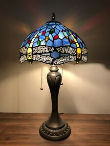 """Enjoy Tiffany Style Table Lamp Sky Blue Stained Glass Dragonfly Vintage 22""""H12""""W"""
