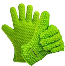 Best Silicone Kitchen & BBQ Gloves - Green - Highest Heat Rated Cooking Mitts...