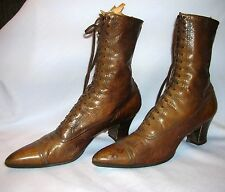 Vintage Victorian Hanan & Son Brown Lace Up High Top Boots Steampunk Shoes