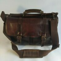 Kenneth Cole Reaction Columbian Leather Messenger Laptop Bag Brown 524451 $460