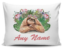 Personalised (Any Name) Floral Sloth Novelty Gift Pillow Case
