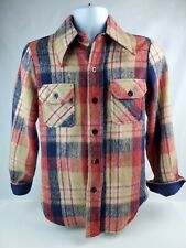 Vintage 1970's Montgomery Ward CPO plaid shirt / jacket Wool & Linen Men's XS