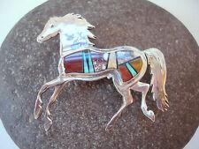 CALVIN BEGAY Sign NAVAJO Sterling Horse RARE Opal & Agate &Tiger Eye PIN BROOCH