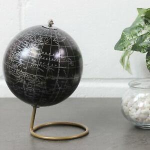 Small Black Travel World Map Rotating Globe Home Office Study Ornament