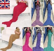 Adult Mermaid Scales Tail Blanket Crocheted Cocoon Sofa Quilt Rug Knit Lapghan