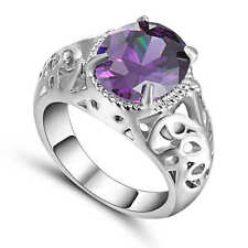 Purple Amethyst Big Stone Wedding Ring 18K  White Gold Filled CZ Band Size 8
