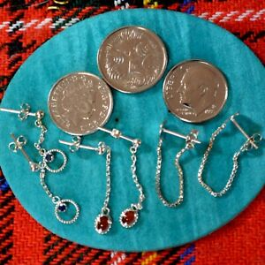 SILVER second hand 3 x chain style earrings