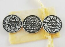 One Day At A Time/Serenity Prayer Pocket Tokens - Set of 3 with Organza Bag