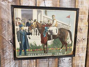 Original 1940 Kentucky Derby Colorized Photo Framed Gallahadion Winner Circle KY