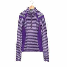 Ivivva Lululemon Girls 10 Striped 1/4 Zip Pullover Sweater Top Purple Gray A7