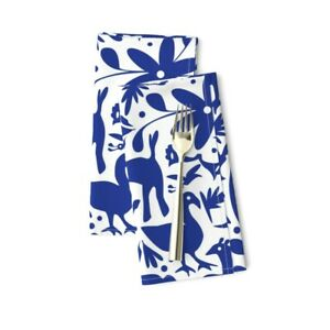 Blue White Deer Otomi Cats Spring Cotton Dinner Napkins by Roostery Set of 2