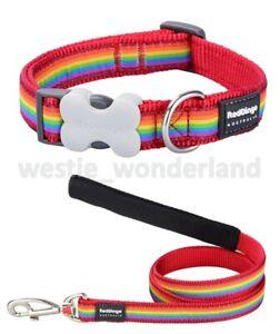 Red Dingo RAINBOW Design Collar / Lead | RED | Dog / Puppy | XS - LG Adjustable