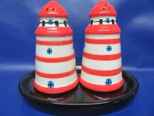 Lighthouse Salt & Pepper - Red/White Lighthouse Cruet - Gift Boxed - Brand New