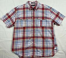 Tommy Hilfiger Men's Shirt Size XL Red White Plaid Linen Button-Up Pre-Owned