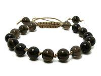 Brown Smokey (Smoky) Quartz Beaded Knotted Macrame Sliding Knot Fashion Bracelet