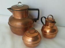 Vintage Rare Copper Coffee Pot Percolator, Sugar Bowl and Creamer Set Antique