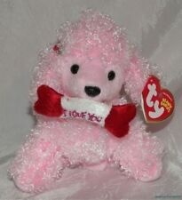 New 2005 Ty Beanie Babies Plush Curly Pink Poodle Pup-In-Love Puppy Dog w/Bone