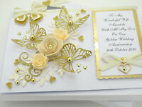 50th Golden Wedding Anniversary Birthday Handmade Personalised Card Gift Box