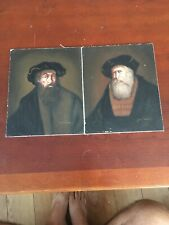 "Two Vintage David Pelham Portraits Dutch Oil Paintings 8"" X 10"""