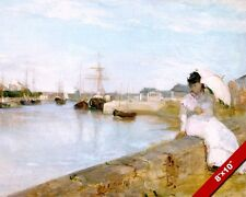 WOMAN WAITING AT LORIENT HARBOR FRANCE PAINTING ART REAL CANVAS GICLEE PRINT