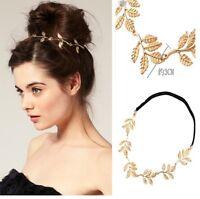 chic Women Girls Retro Vintage Hollow Leaf Elastic Hair Band Headband gold one