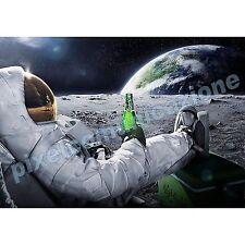 QUADRI MODERNI POSTER UNIVERSO LUNA ASTRONAUTA TERRA CARLSBERG BIRRA 100X140