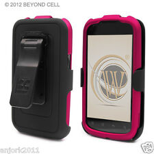 Pantech Burst AT&T P9070 Hard Snap-On Case+Holster+Screen Protector Rose Pink