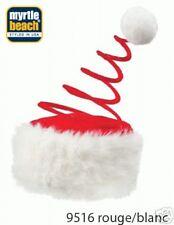 Bonnet Noël Ressort avec pompon Bord en fourrure blanc