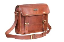 """100% Pure Genuine Real Vintage Goat Leather Handmade Men's  Messenger Bag 13"""""""