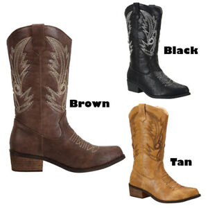 Free Shipping Womens Ladies Mid Wide Calf Western Country Cowboy Cowgirl Boots